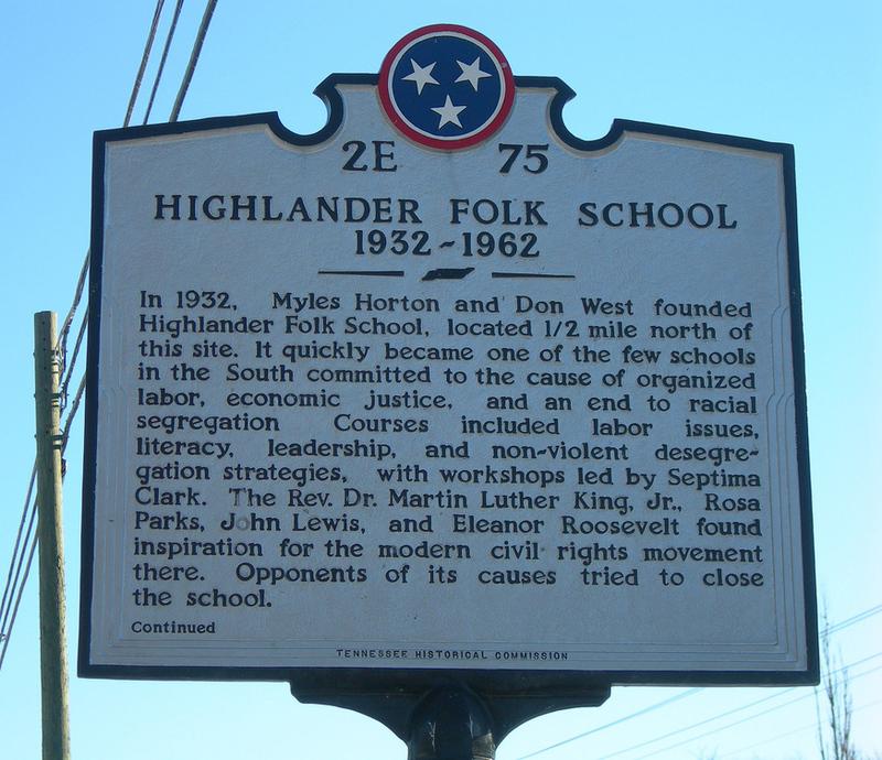 Tennessee historic marker - Highlander folk school