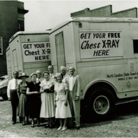 Chest x-ray van in eastern NC to screen for tuberculosis 1950s, 1960s